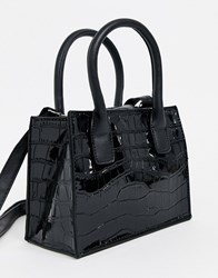 New Look Patent Croc Mini Tote Bag In Black
