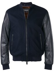 Emporio Armani Faux Leather And Fur Lined Bomber Jacket Blue