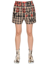 Maison Martin Margiela Printed Plaid Cotton Twill Shorts
