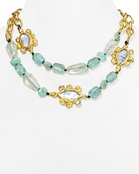 Alexis Bittar Elements Custom Link Multi Strand Necklace 18 Gold Multi Blue