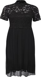 Lost Ink Curve Skater Dress With Lace Top And Pleated Skirt Black