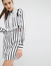 Kendall Kylie Peek A Boo Silk Shirt Dress White Black Stripe Multi