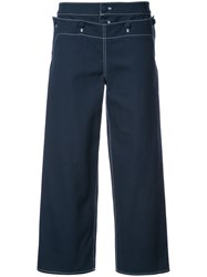Harvey Faircloth Sailor Cropped Trousers Cotton Blue