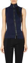 Paco Rabanne Zip Front Sleeveless Top Blue Size 38 Fr