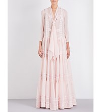 Givenchy Tiered Lace Silk Gown Pale Pink