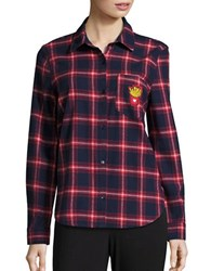 Honey Punch Plaid Button Down Shirt Red Plaid