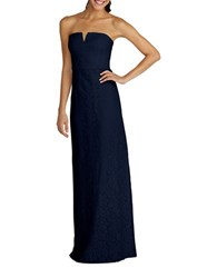 Donna Morgan Strapless Slit Neck Sheath Gown Indigo