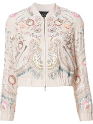 Needle And Thread Floral Embellished Bomber Jacket Pink Purple