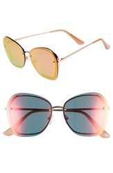 Leith 61Mm Rimless Square Sunglasses Rose Gold Rose Gold Rose Gold Rose Gold