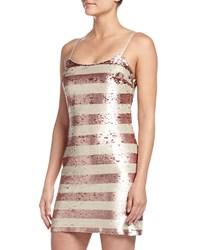 Soloiste Leah Striped Sequin Sleeveless Dress Blush Ivory