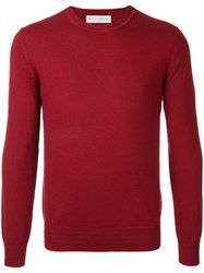 Gieves And Hawkes Crew Neck Sweater Wool Red