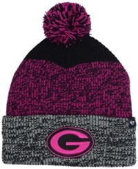 47 Brand '47 Green Bay Packers Static Cuff Pom Knit Hat Black Pink Heather