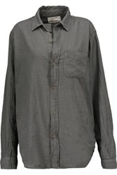 Current Elliott The Prep School Cotton Shirt Dark Gray