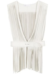 Spacenk Nk Leather Fringed Gilet White