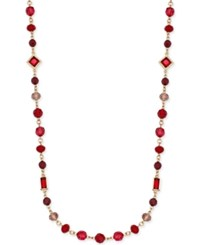 Charter Club Gold Tone Red Bead Long Length Necklace Only At Macy's