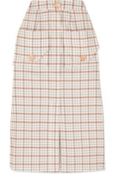 Nicholas Checked Tencel Blend Midi Skirt Beige