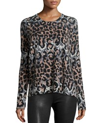 Derek Lam 10 Crosby Long Sleeve Leopard Print Wool Blend Top