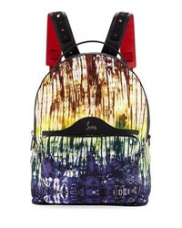 Christian Louboutin Backloubi Painted Canvas Backpack Green Pattern