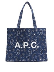 A.P.C. Diane Paisley Print Canvas Tote Bag Navy