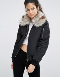 Only Bomber Jacket With Detachable Faux Fur Collar Black
