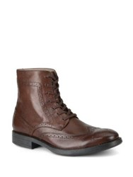 Marc New York Baycliff Leather Wing Tip Combat Boots Black