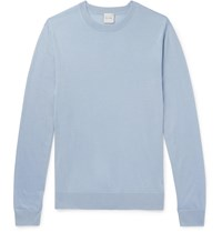 Paul Smith Embroidered Merino Wool And Silk Blend Sweater Blue
