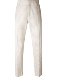 Marc Jacobs Cropped Checked Trousers Nude And Neutrals