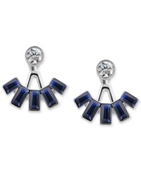 T Tahari Silver Tone Blue Stone And Crystal Jacket Earrings