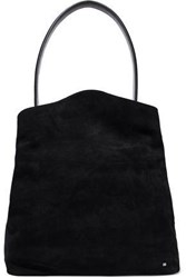 Halston Glossed Leather Trimmed Suede Tote Black