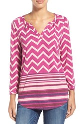 Women's Lucky Brand Chevron Print Split Neck Top