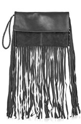 Topshop Leather And Suede Fringe Clutch