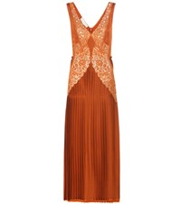 Stella Mccartney Pleated Lace Panelled Dress Orange