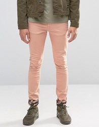 Asos Super Skinny Jeans With Camo Turn Up In Pink Mahogany Rose