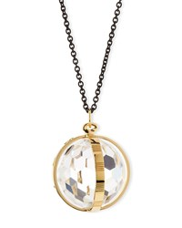 18K Gold And Black Steel Crystal Pendant Necklace Monica Rich Kosann