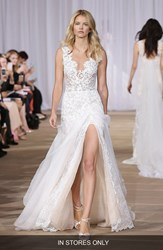 Women's Ines Di Santo 'Morning' Layered Lace And Organza Front Slit Gown In Stores Only