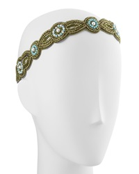 Deepa Gurnani Scalloped Beaded Headwrap Bronze Turquoise
