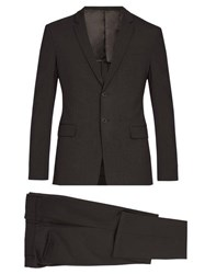 Prada Single Breasted Wool Blend Suit Dark Grey
