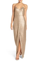 Amsale Women's 'Samantha' Spaghetti Strap V Neck Sequin Gown Gold