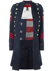 History Repeats Long Military Jacket Blue