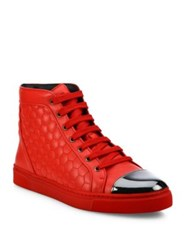 Louis Leeman Lace Up Leather Sneakers Red
