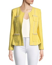 Berek Tweed Jacket With Pearl Trim Plus Size Yellow