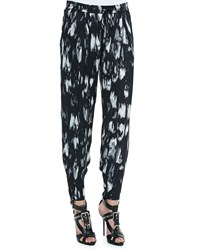 Haute Hippie Champ Ikat Print Relaxed Pants Chrcl Blk Swan