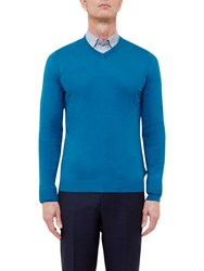 Ted Baker T For Tall Altertt Silk Blend V Neck Jumper Turquoise
