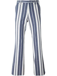 Romeo Gigli Vintage Striped Trousers Blue