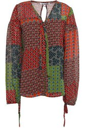 Walter Baker Woman Mercedes Bow Detailed Printed Crepe Blouse Multicolor