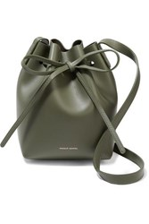 Mansur Gavriel Mini Mini Leather Bucket Bag Army Green
