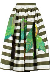 Stella Jean Striped Silk And Tulle Midi Skirt Green