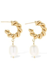 Isabel Lennse 6Mm Twisted Loop Earrings W Pearl Gold