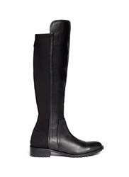 Pedder Red 'Jack' Scuba Jersey Leather Knee High Boots Black