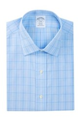 Brooks Brothers Regent Fit Windowpane Shirt Blue